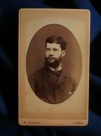 Photo CDV Alophe à Paris - Portrait  Homme Barbu En Médaillon, Circa 1880-85 L515B - Fotos