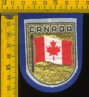 Scudetto Stemma In Stoffa Souvenir D' Epoca Fondo Blu Canada - Patches