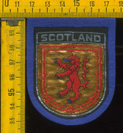 Scudetto Stemma In Stoffa Souvenir D' Epoca Fondo Blu Scozia Scotland - Patches