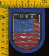 Scudetto Stemma In Stoffa Souvenir D' Epoca Fondo Blu USA America - Patches