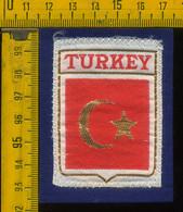 Scudetto Stemma In Stoffa Souvenir D' Epoca Fondo Blu Turchia Turkey - Patches