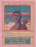 """RARISSIME : PROTEGE CAHIER PASTILLES SALMON : LES RACES HUMAINES """" NEGRE AFRICAIN - RACE NOIRE """" - Chemist's"""