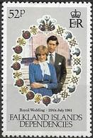 FALKLAND ISLAND DEPENDENCIES 1981 Royal Wedding - 52p - Prince Charles And Lady Diana Spencer MNH - Falklandeilanden
