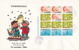 Nederland - FDC - Kinderblok 15 November 1966 - Plaatfout 875 P/875 PM - Mast 8e Editie - Abarten Und Kuriositäten