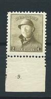 N° 166 AVEC N° DE PLANCHE 9.MNH - 1919-1920 Roi Casqué