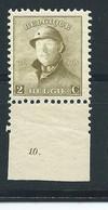 N° 166 AVEC N° DE PLANCHE 10.MNH - 1919-1920 Roi Casqué