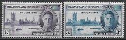 Falkland Islands 1946. Scott #97-8 (M) King George VI And Parliament Buildings ** Complete Set - Falklandeilanden