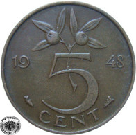 LaZooRo: Netherlands 5 Cents 1948 XF - 5 Cent