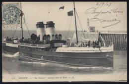"""CPA - (76) Dieppe - """"La Tamise"""" Entrant Dans Le Port - Dieppe"""