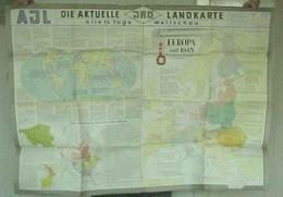 """Topographie Landkarte 1954 """"Europa Seit 1945 + Während Weltkrieg II +Änderung Grenzen, Staatsformen"""" Verlag: JRO München - Topographical Maps"""