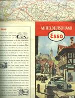 """Topographie Landkarte 1951 Deko Esso Gebietskarte #3 """" Mitteldeutschland (= SBZ DDR) """" - Topographische Karten"""