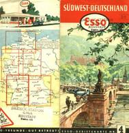 """Topographie Landkarte 1952 Deko Esso Gebietskarte #4 """" Südwest-Deutschland """" Verlag: Esso Hamburg - Topographische Karten"""