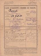 CARTE D IDENTITE HOMME DE TROUPE / PERRET ADRIEN / 63 RDC 3 E BATTERIE - Documents