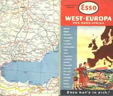 """Topographie Landkarte 1957 Deko Esso International """" Westeuropa Und Nord-Afrika """" Verlag: Esso Hamburg - Topographische Karten"""