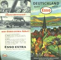 """Topographie Landkarte 1958 Deko Esso Gebietskarte """" Mittelrhein Sonderkarte """" Verlag: Esso Hamburg - Topographische Karten"""