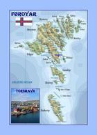 Faroe Islands Country Map Føroyar New Postcard Färöer Landkarte AK - Islas Feroe