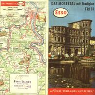 "Topographie Landkarte 1959 Deko Esso Gebietskarte "" Moseltal Mit Stadtplan Trier "" Verlag: Esso Hamburg - Topographische Karten"