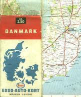 "Topographie Landkarte 1950 Deko Esso International "" Danmark = Dänemark 1:510.000 "" Verlag: Esso - Topographische Karten"