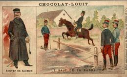 CHROMO CHOCOLAT LOUIT ECUYER DE SAUMUR LE SAUT DE LA BARRE - Louit