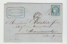 HERAULT: Amb. CETTE A BORDEAUX  / C + CB / Yv 46 B / LAC De Lézignan De 1871 - Correo Ferroviario