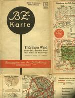 "Topographie Landkarte 1930 Deko BZ-Mittag-Autokarte ""Blatt: Thüringer Wald Saaletal Frankenwald"" Verlag: Ullstein Berlin - Topographische Karten"