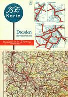 """Topographie Landkarte 1936 BZ-Mittag-Autokarte """" Dresden Sächsische+Böhmische Schweiz Zittau Lausitz"""" Ullstein Berlin - Topographische Karten"""