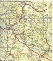 """Topographie Landkarte 1930 Deko JRO Wanderkarte 1:100.000 """" Bayerischer Wald """" Verlag: JRO München - Topographische Karten"""
