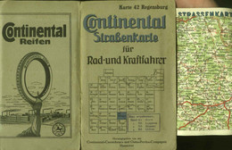 "Topographie Landkarte 1930 Deko Continental Rad- U. Kraftfahrerkarte #42 "" Regensburg "" Gutta-Percha C. Hannover - Topographische Karten"