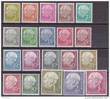 Men_ Deutschland Bund 1954 - Mi.Nr. 177 - 196 X - Postfrisch MNH - Heuss (I) - BRD
