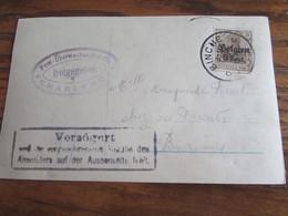 14-18: Carte Fantaisie Affranchie à 3 Cent Et Oblitérée BINCHE (postal) En 1917 (+ Censure De Charleroi) + RETARDE FAUTE - Andere Brieven
