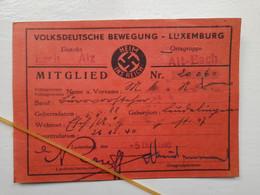 WW2 German Interest - German Peoples Movement - Luxemburg Membership Card  - Scroll Down To Read More Info On Item - 1939-45