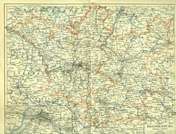 """Topographie Landkarte 1898 (!!) Deko 1:1.250.000 """" Brandenburg """" Verlag: Meyers Konv.Lex - Topographische Karten"""