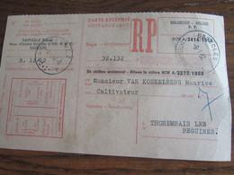 CARTE RECEPISSE Avec Taxe Payée En Numéraire Oblitérée BASECLES CARTES-RECEPISSES En 1962 (rare!) - Otros