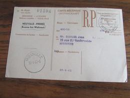 CARTE RECEPISSE Avec Taxe Payée En Numéraire Oblitérée BOUSSU-LEZ-WALCOURT CARTES-RECEPISSES En 1960 (rare!) - Otros