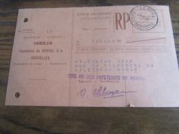 CARTE RECEPISSE Avec Taxe Payée En Numéraire Oblitérée GENVAL CARTES-RECEPISSES En 1952 (rare!) (2 Trous D'archives) - Otros
