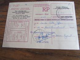 CARTE RECEPISSE Avec Taxe Payée En Numéraire Oblitérée GENT 1 ONTVANGKAARTEN En 1971 (rare!) - Otros