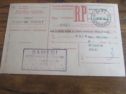 CARTE RECEPISSE Avec Taxe Payée En Numéraire Oblitérée GENT 12 ONTVANGKAARTEN En 1960 (rare!) - Otros