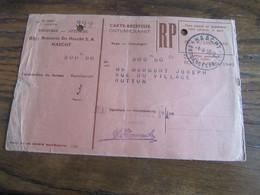 CARTE RECEPISSE (défraîchie) Avec Taxe Payée En Numéraire Oblitérée HAACHT ONTVANGKAARTEN En 1955 (rare!) - Otros