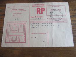 CARTE RECEPISSE Avec Taxe Payée En Numéraire Oblitérée WALCOURT CARTES-RECEPISSES En 1969 (rare!) (1 Pli) - Otros