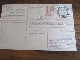 CARTE RECEPISSE Avec Taxe Payée En Numéraire Oblitérée ST NIKLAAS 1 ONTVANGKAARTEN En 1954 - Otros