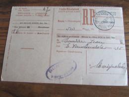 CARTE RECEPISSE Avec Taxe Payée En Numéraire Oblitérée PIRONCHAMPS CARTES-RECEPISSES En 1952 (rare!) - Otros