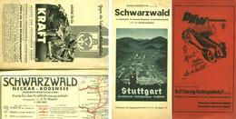 """Topographie Landkarte 1935 Deko 1:250.000 Hallwag """" Autokarte Schwarzwald Neckar Bodensee """" - Topographische Karten"""