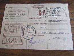 CARTE RECEPISSE Avec Taxe Payée En Numéraire Oblitérée LIEGE 1 CARTES-RECEPISSES En 1971 (rare!) - Otros