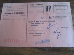 CARTE RECEPISSE Avec Taxe Payée En Numéraire Oblitérée JUPILLE CARTES-RECEPISSES En 1955. Envoyeur : BRASSERIE PIEDBOEUF - Otros