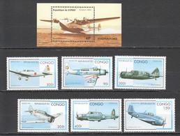 A466 1994,1996 CONGO TRANSPORT AVIATION 1SET+1BL MNH - Aviones