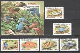 A521 2000,2001 CAMBODGE BENIN FISH & MARINE LIFE 1SET+1BL MNH - Marine Life