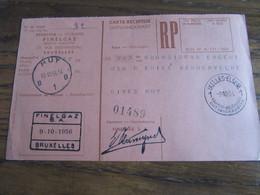 CARTE RECEPISSE Avec Taxe Payée En Numéraire Oblitérée IXELLES - ELSENE 1 CARTES-RECEPISSES (bilingue) En 1956.(rare!) - Otros