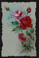 Superbe Carte Celluloid - Roses Peintes  La Main - 2 Scans - Fleurs