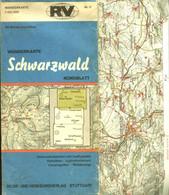 """Topographie Landkarte ~1950 Deko 1:100.000 RV-Wanderkarte """" Schwarzwald Nordblatt """" - Topographische Karten"""