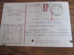 CARTE RECEPISSE Avec Taxe Payée En Numéraire Oblitérée KOEKELBERG 1 CARTES-RECEPISSES (bilingue) En 1955.(rare!) - Otros